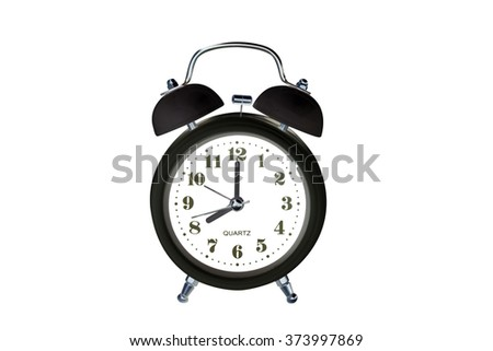 Black classic alarm clock on white background