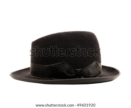 Black classic hat isolated on white - stock photo