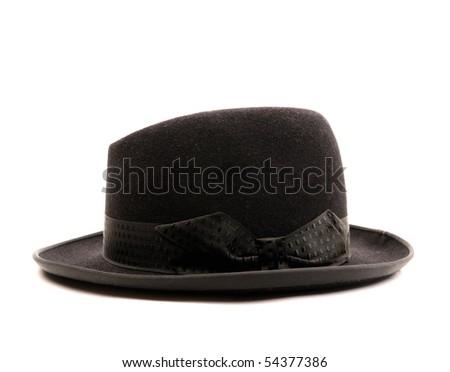 Black classic hat on white background - stock photo