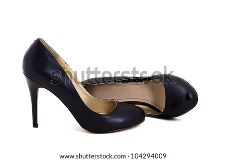 Black classic high heel shoes isolated on white - stock photo