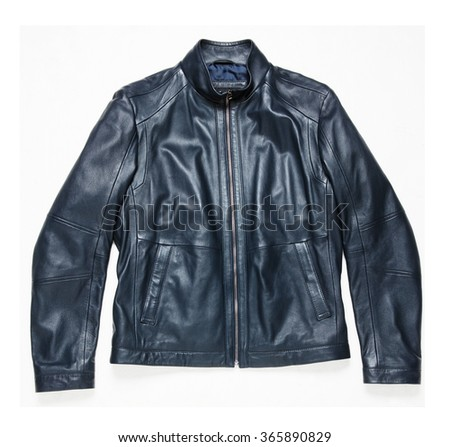 black classic leather men jacket isolated - stock photo