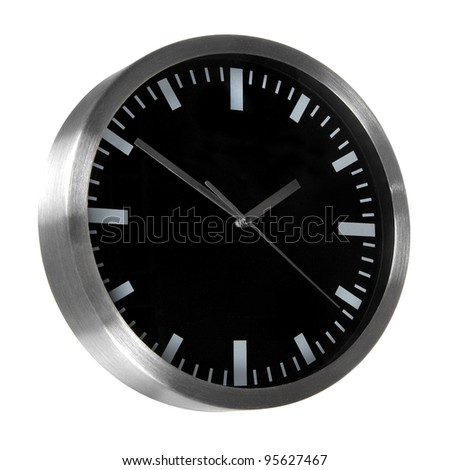Black classic office clocks isolated on white - stock photo