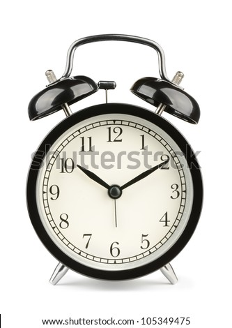 Black classic style alarm clock isolated on white - stock photo