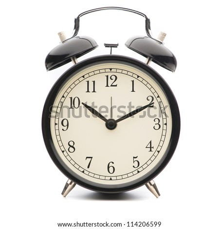 Black Classic Style Alarm Clock Isolated On White Background - stock photo