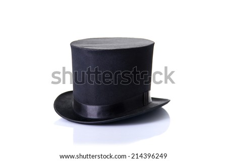 Black classic top hat, isolated on white background with soft reflection  - stock photo