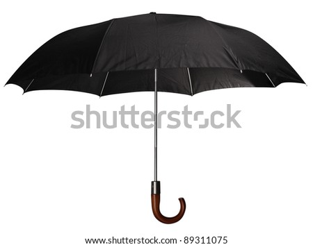 Black classic umbrella with wooden handle. Isolated on a white background. - stock photo