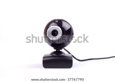 Black classic webcam isolated on white background