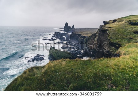 black cliffs and strange shapes in Iceland