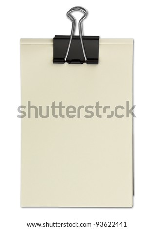 Black clip and White blank note paper - stock photo