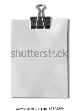 Black clip and White blank note paper on White background - stock photo