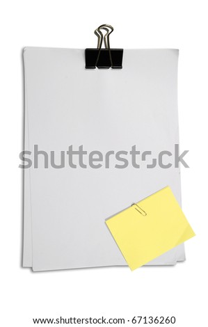 Yellow Memo Stick Paper Clip Isolated Stock Photo