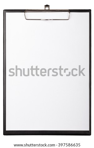 Black clipboard with an empty piece of paper on white background