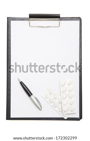 black clipboard with blank paper sheet, pen and pills isolated on white background
