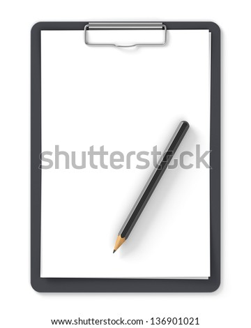 Black clipboard with blank sheets of paper and pencil isolated on white - stock photo