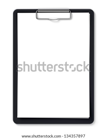 Black clipboard with blank sheets of paper isolated on white