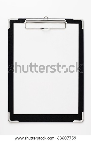Black clipboard with copy space. - stock photo