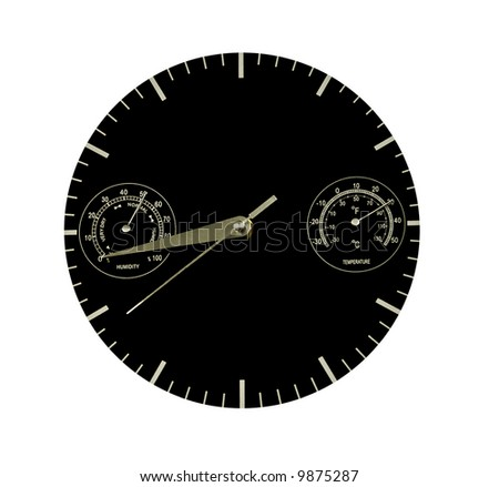 Black clock measuring, time, temperature, humidity, - stock photo