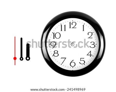 Black clock with freely transformable arrows to be placed any time. - stock photo