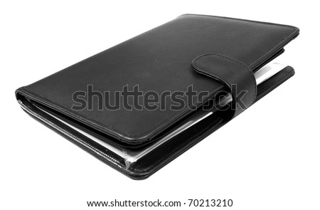 Black  closed business book isolated over white background - stock photo