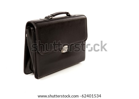 Black Closed Suitcase with a Handle on a White Isolated Background