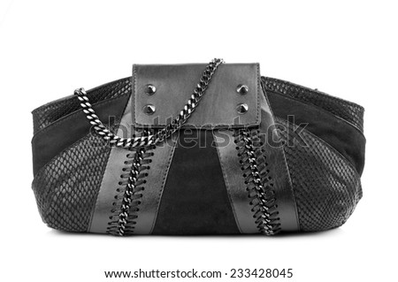Black clutch isolated on white background. - stock photo