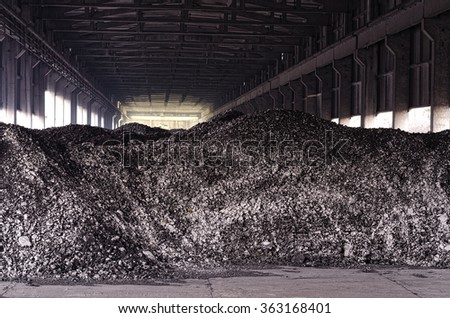 Black coal heap background. Mining concept. - stock photo