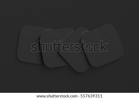 Black coasters. Isolated on black background. Include clipping path. 3d render