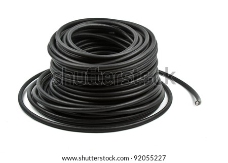 Black coaxial cable - stock photo