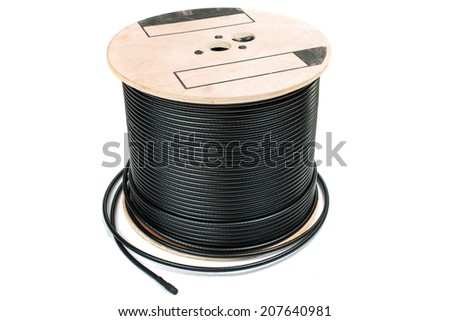 Black coaxial cable on a white background - stock photo