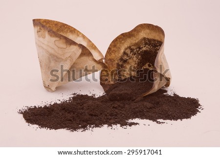 Black coffee and coffee filters, coffee with white background. - stock photo