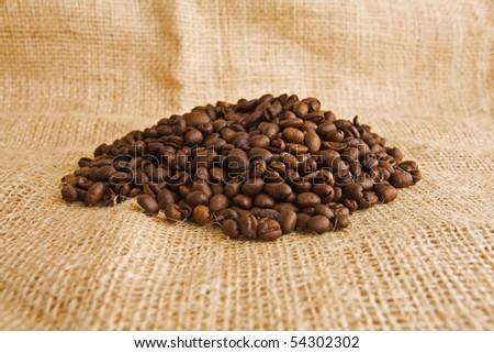 black coffee beans - stock photo