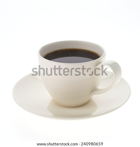Black coffee cup isolated on white background - stock photo