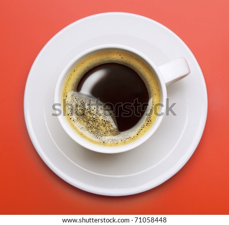 Black Coffee cup on red background