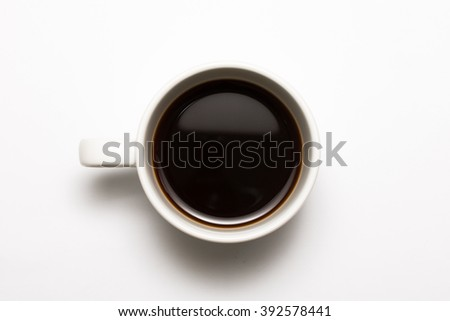 Black coffee cup on the white background - stock photo