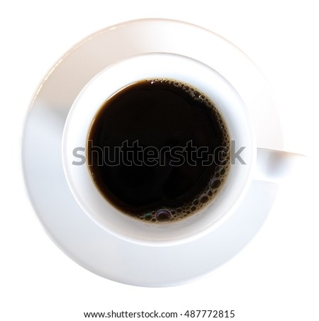 Black coffee in ceramic cup top view isolated on white background, clipping path included