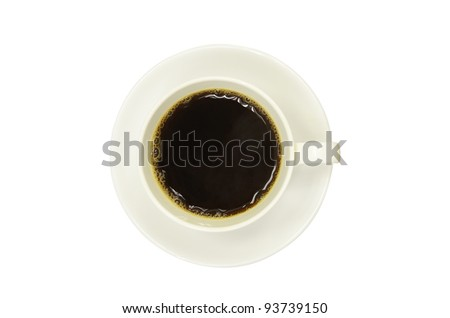 black coffee in white cup - stock photo