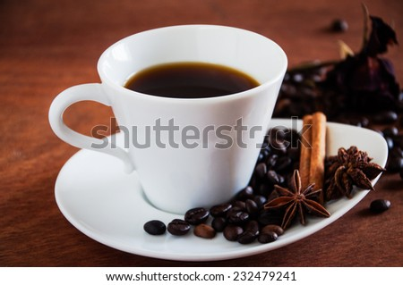 Black coffee in white cup on wood table