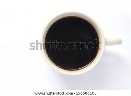 Black coffee in white cup, top view isolated on white background