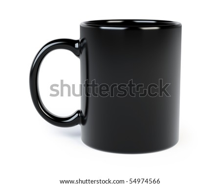 black coffee mug isolated on white - stock photo