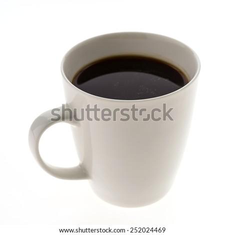 Black Coffee mug isolated on white background - stock photo
