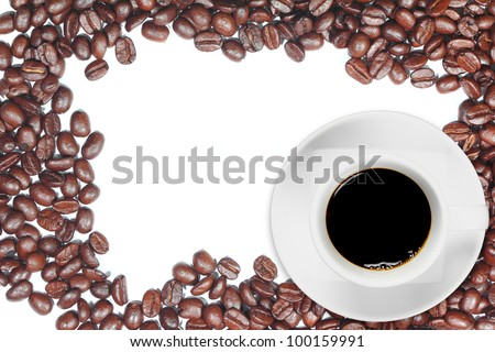 Black coffee on coffee beans frame with space for your text