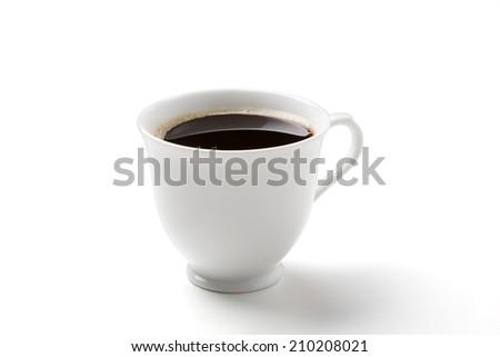 black coffee  on white - stock photo