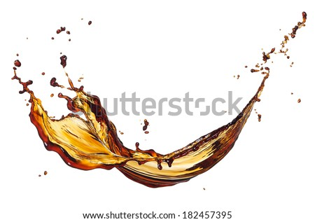black coffee splash isolated on white background - stock photo