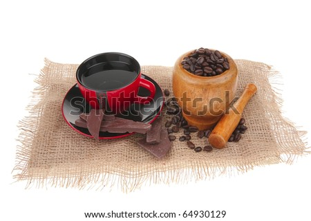 black coffee with dark chocolate and beans