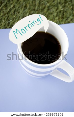 black coffee with morning note on blue background - stock photo