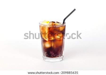 black cola cocktail with lemon and ice on a white background coffee whiskey  tea