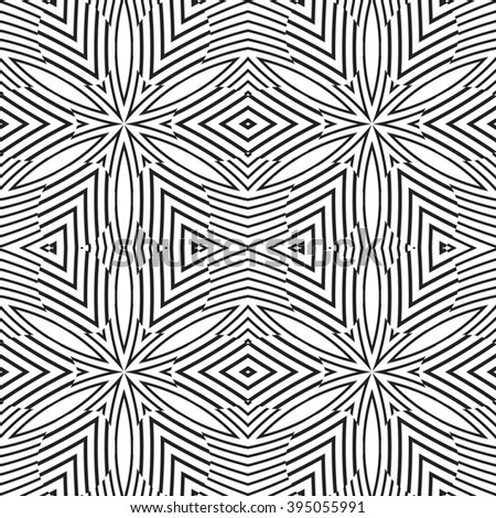 black color abstract optical art illusion design decoration seamless pattern isolated white background
