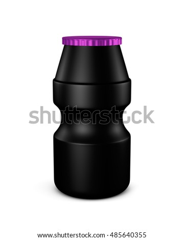 Black color blank Packaging plastic bottle beverage yogurt, on white background isolated. Packshot design for front view of 3d Rendering (Clipping Path layers and passes)