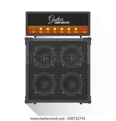 black color flat design retro guitar combo amplifier cabinet illustration isolated white background long shadow