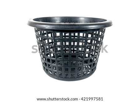 Black color plastic basket on white background